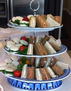 sandwiches on tiered stand